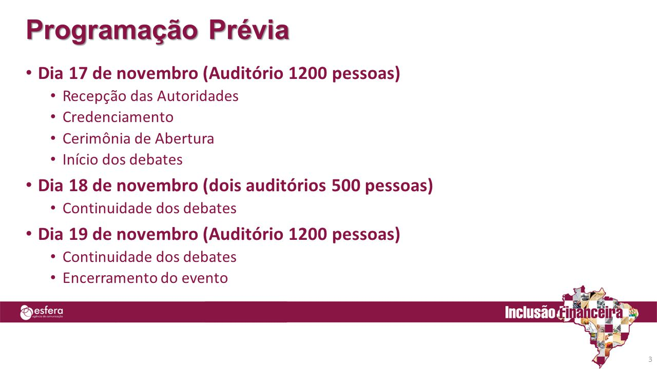 Programação Prévia Dia 17 de novembro (Auditório 1200 pessoas)