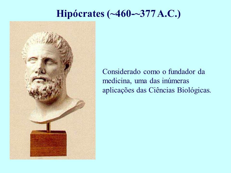 Hipócrates (~460-~377 A.C.) Considerado como o fundador da medicina, uma das inúmeras aplicações das Ciências Biológicas.