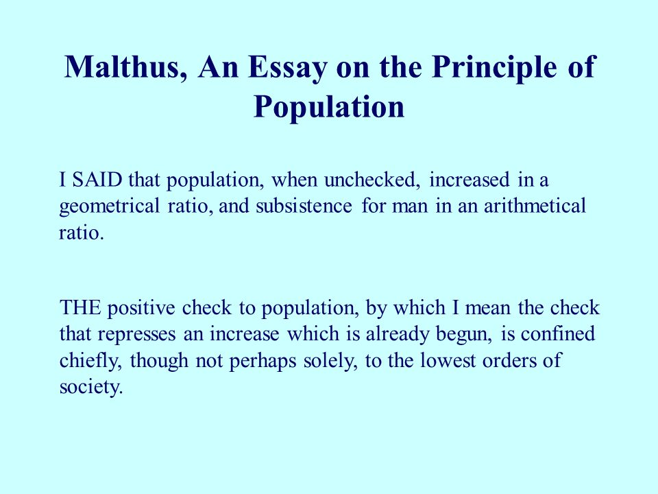 Malthus, An Essay on the Principle of Population