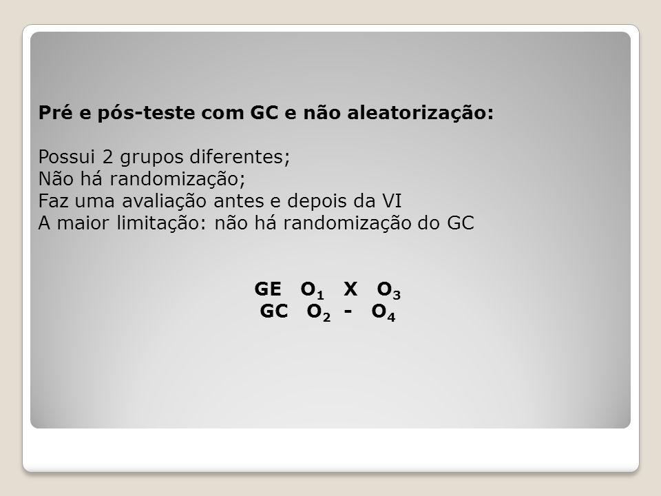 Pré e pós-teste com GC e não aleatorização: