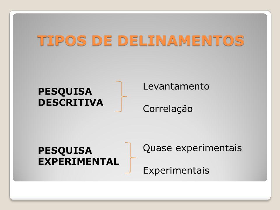 TIPOS DE DELINAMENTOS Levantamento PESQUISA DESCRITIVA Correlação