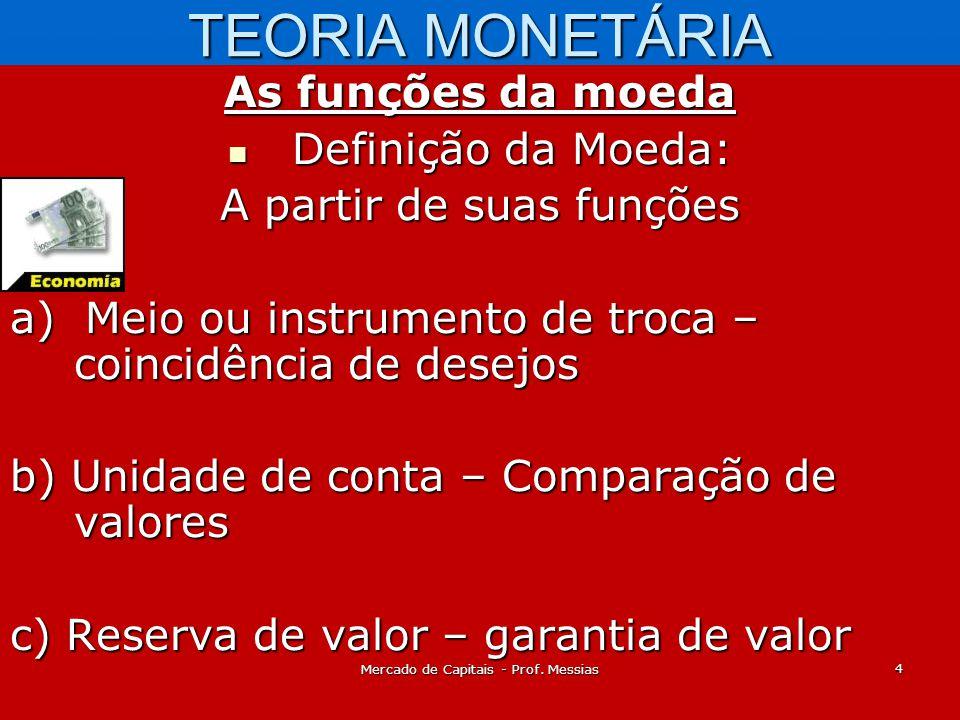 TEORIA MONETÁRIA As funções da moeda Definição da Moeda: