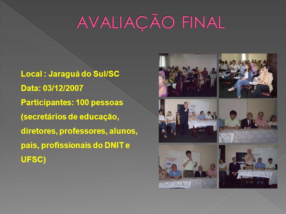 AVALIAÇÃO FINAL Local : Jaraguá do Sul/SC Data: 03/12/2007