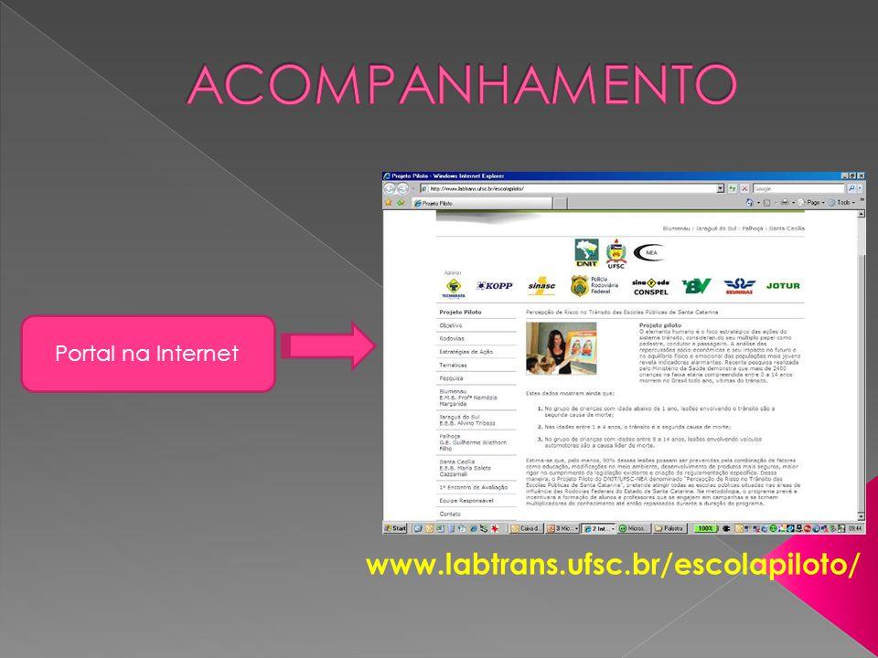 ACOMPANHAMENTO Portal na Internet www.labtrans.ufsc.br/escolapiloto/