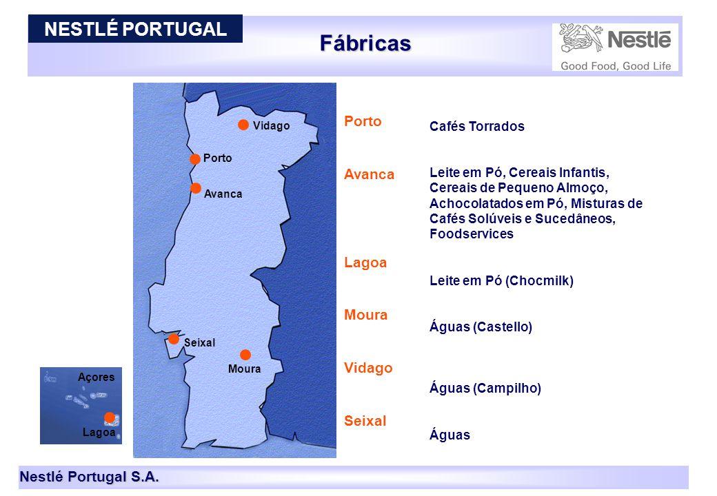 Fábricas NESTLÉ PORTUGAL Porto Avanca Lagoa Moura Vidago Seixal