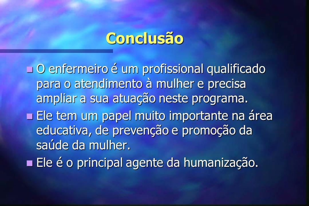 Conclusão O enfermeiro é um profissional qualificado para o atendimento à mulher e precisa ampliar a sua atuação neste programa.