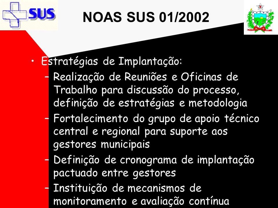 NOAS SUS 01/2002 Estratégias de Implantação: