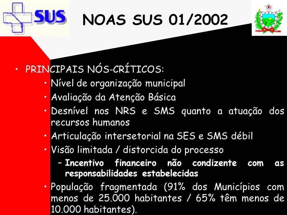 NOAS SUS 01/2002 PRINCIPAIS NÓS-CRÍTICOS: