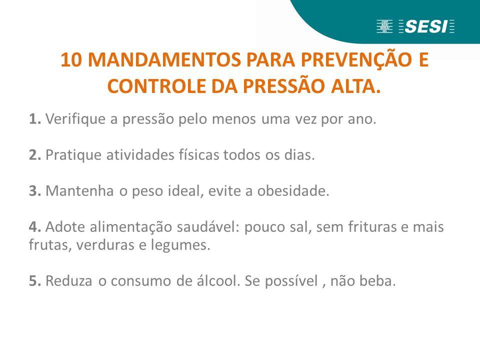 10 MANDAMENTOS PARA PREVENÇÃO E CONTROLE DA PRESSÃO ALTA.
