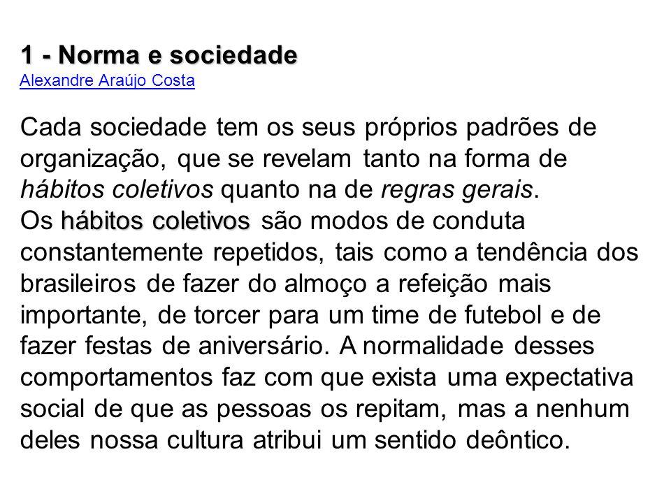 1 - Norma e sociedade Alexandre Araújo Costa.