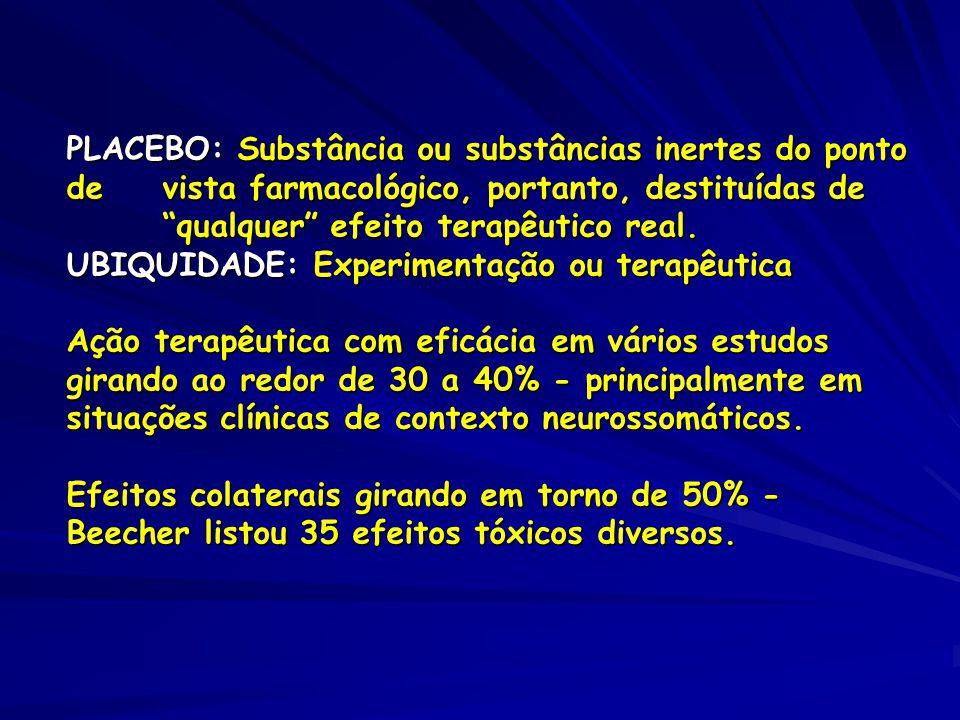 PLACEBO: Substância ou substâncias inertes do ponto de