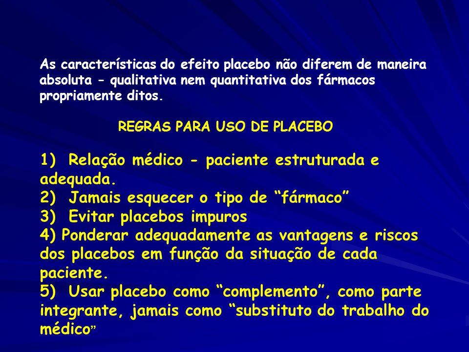 1) Relação médico - paciente estruturada e adequada.