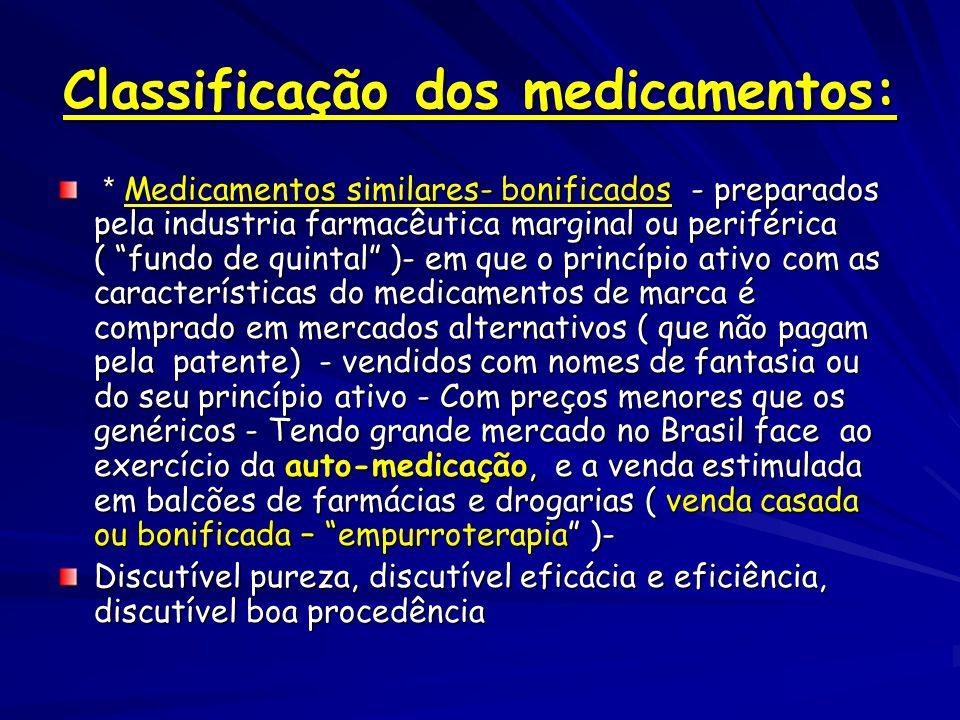 Classificação dos medicamentos: