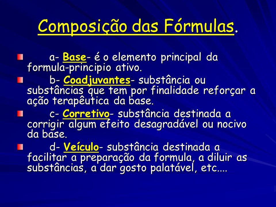 Composição das Fórmulas.
