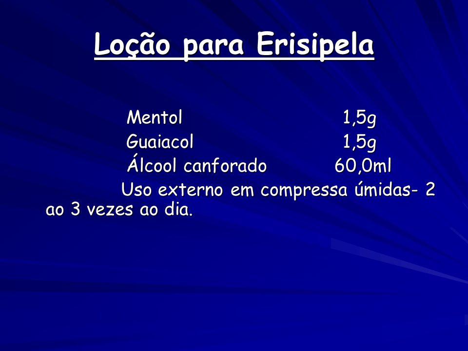 Loção para Erisipela Mentol 1,5g Guaiacol 1,5g Álcool canforado 60,0ml