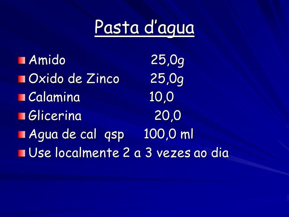 Pasta d'agua Amido 25,0g Oxido de Zinco 25,0g Calamina 10,0