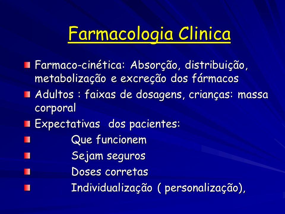 Farmacologia Clinica Farmaco-cinética: Absorção, distribuição, metabolização e excreção dos fármacos.