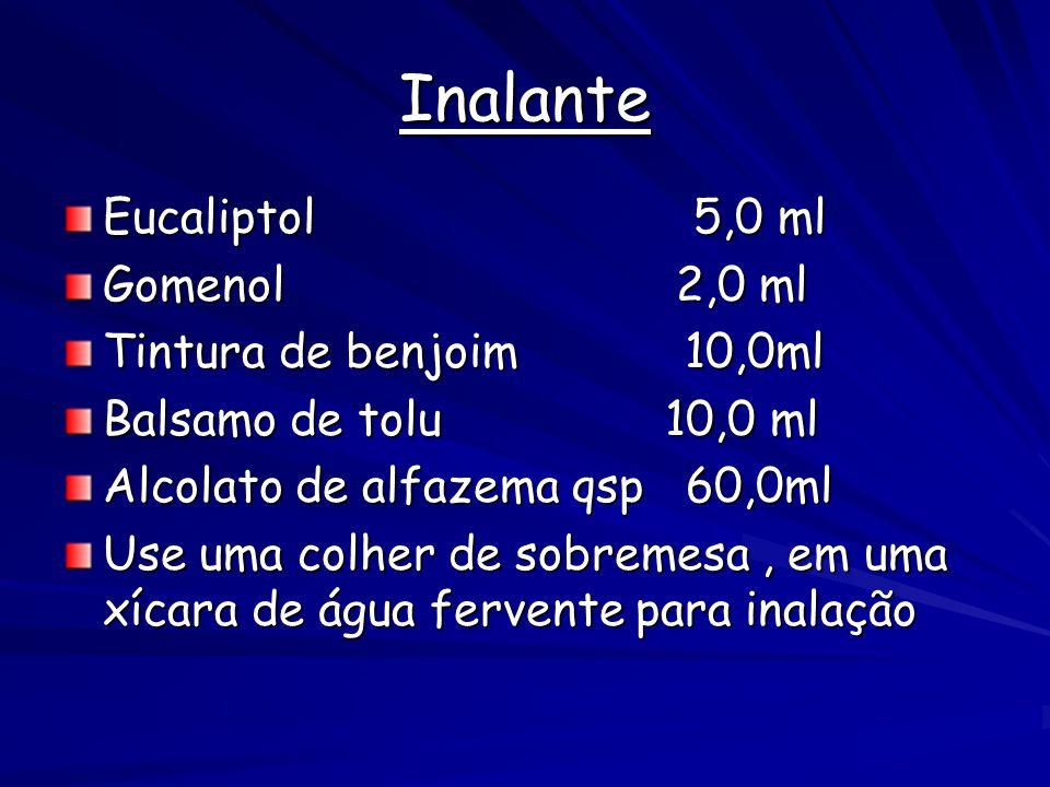 Inalante Eucaliptol 5,0 ml Gomenol 2,0 ml Tintura de benjoim 10,0ml