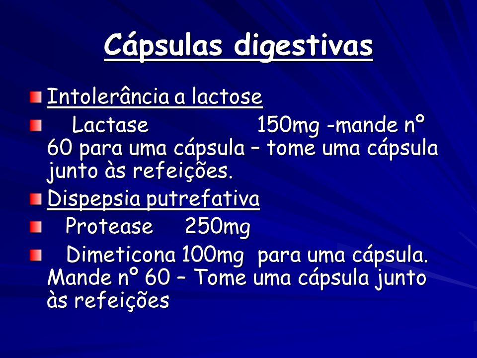 Cápsulas digestivas Intolerância a lactose