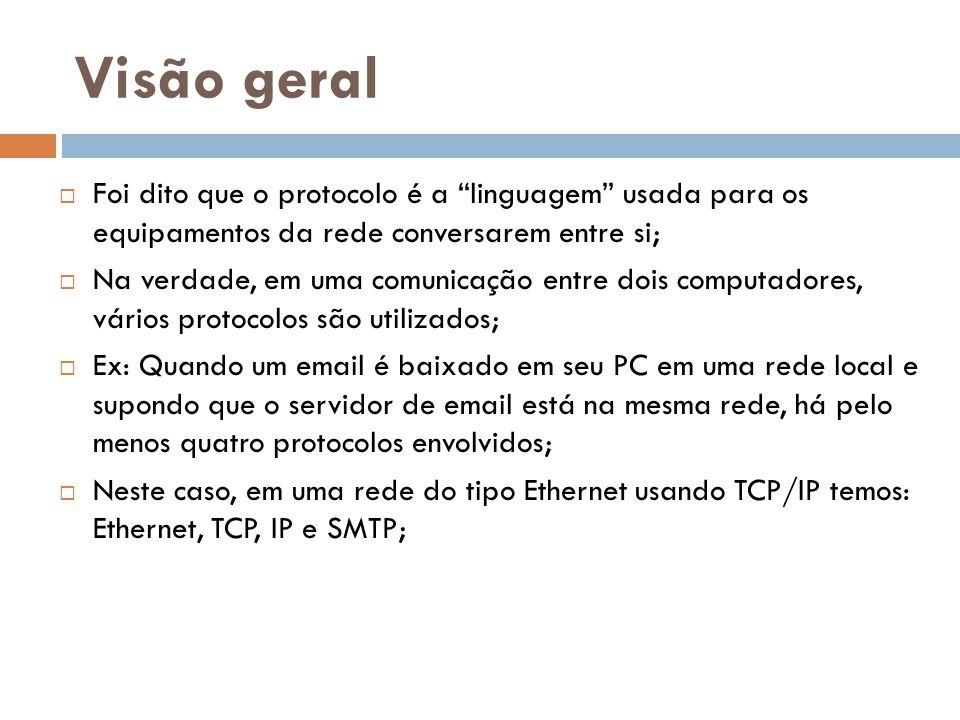 Visão geral Foi dito que o protocolo é a linguagem usada para os equipamentos da rede conversarem entre si;