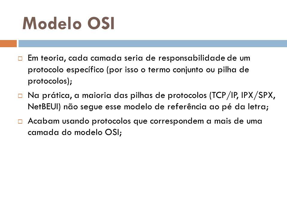 Modelo OSI Em teoria, cada camada seria de responsabilidade de um protocolo específico (por isso o termo conjunto ou pilha de protocolos);