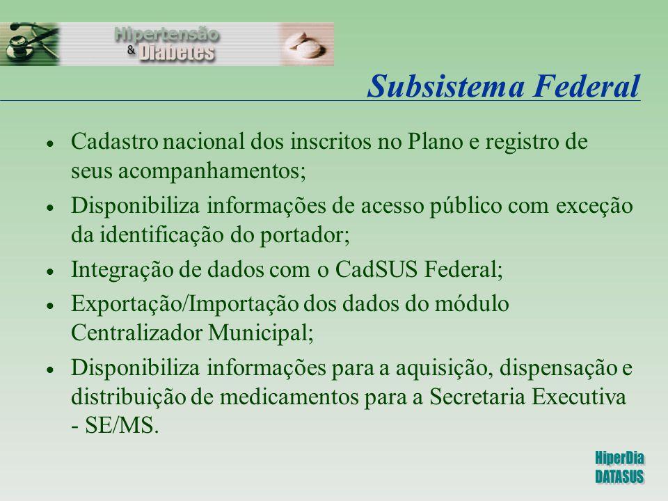 Subsistema Federal Cadastro nacional dos inscritos no Plano e registro de seus acompanhamentos;
