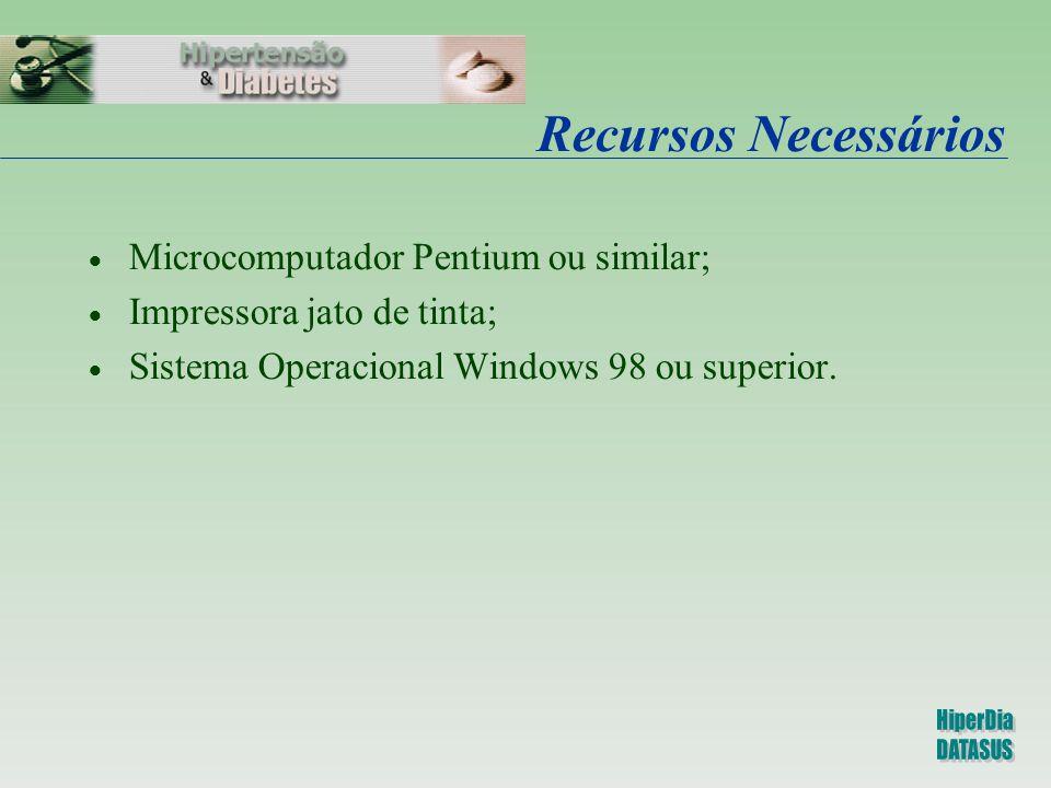 Recursos Necessários Microcomputador Pentium ou similar;