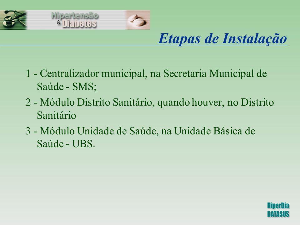 Etapas de Instalação 1 - Centralizador municipal, na Secretaria Municipal de Saúde - SMS;