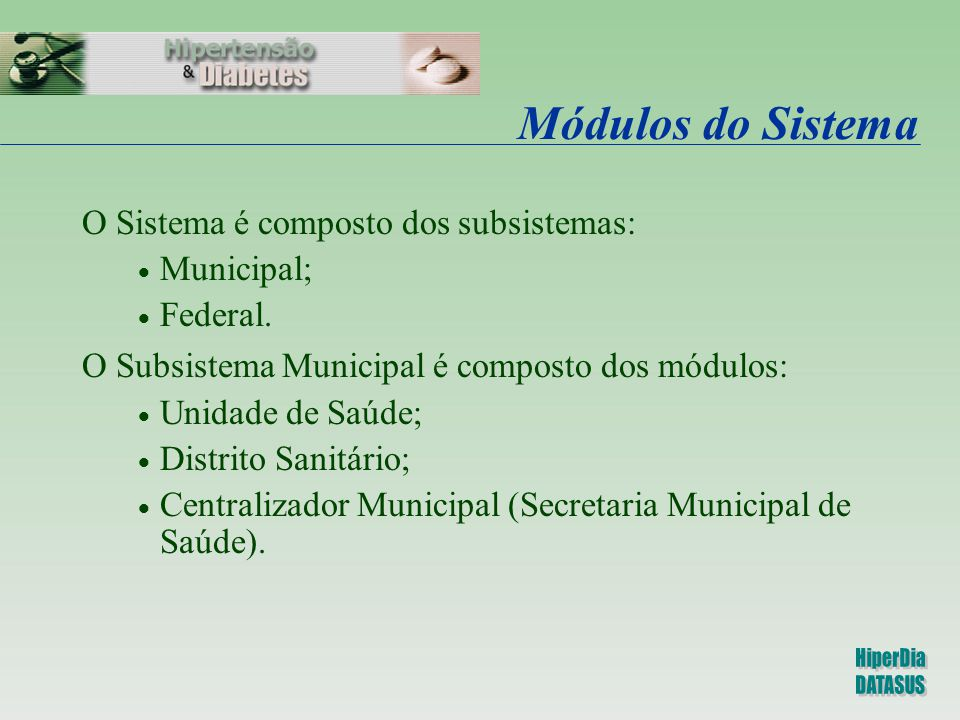 Módulos do Sistema O Sistema é composto dos subsistemas: Municipal;
