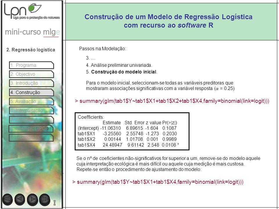 Construção de um Modelo de Regressão Logística com recurso ao software R