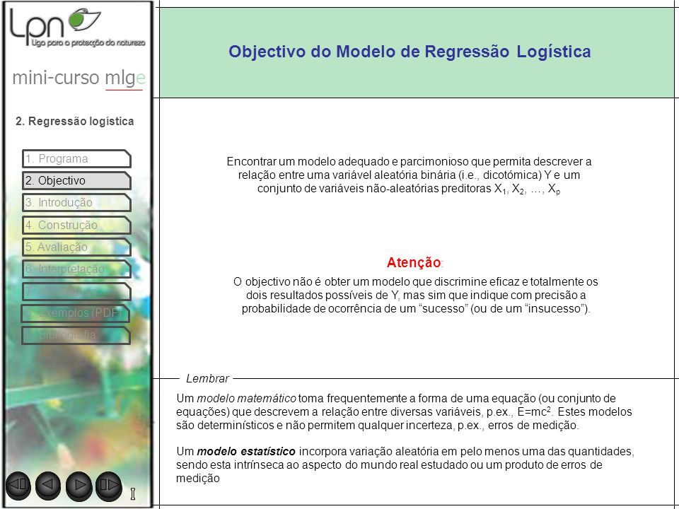 Objectivo do Modelo de Regressão Logística