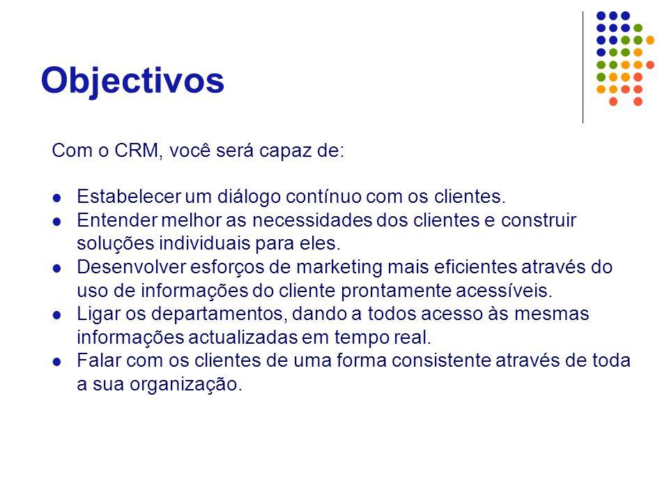 Objectivos Com o CRM, você será capaz de: