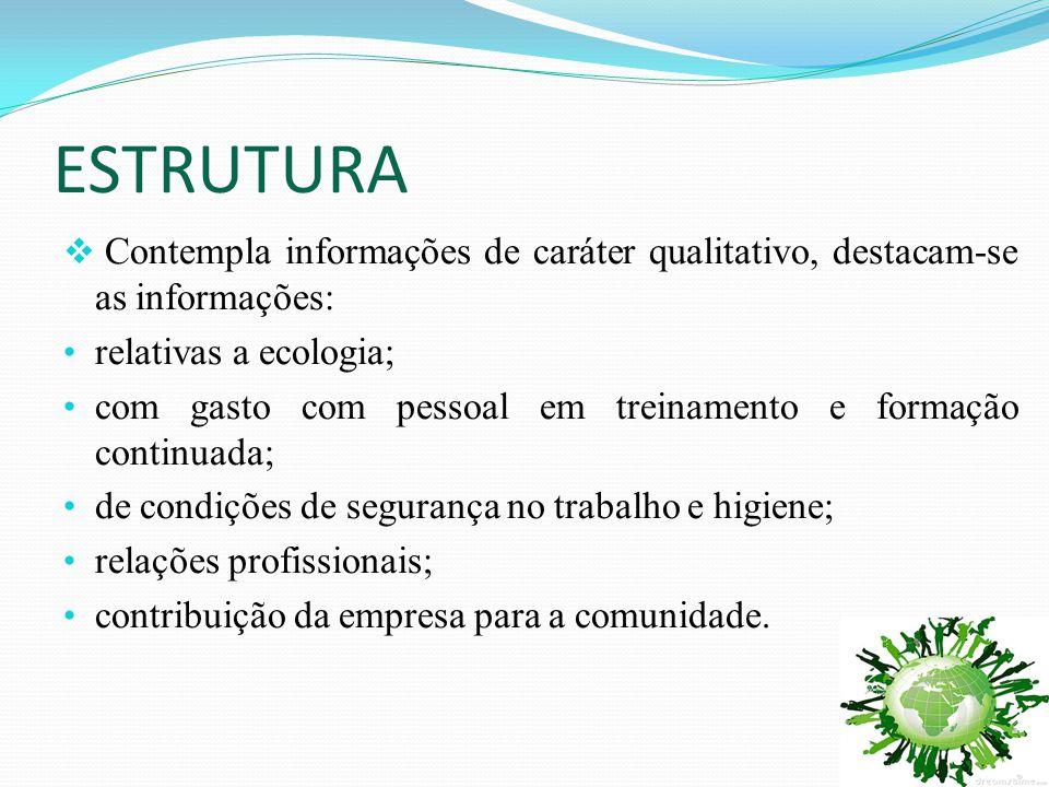 ESTRUTURA Contempla informações de caráter qualitativo, destacam-se as informações: relativas a ecologia;