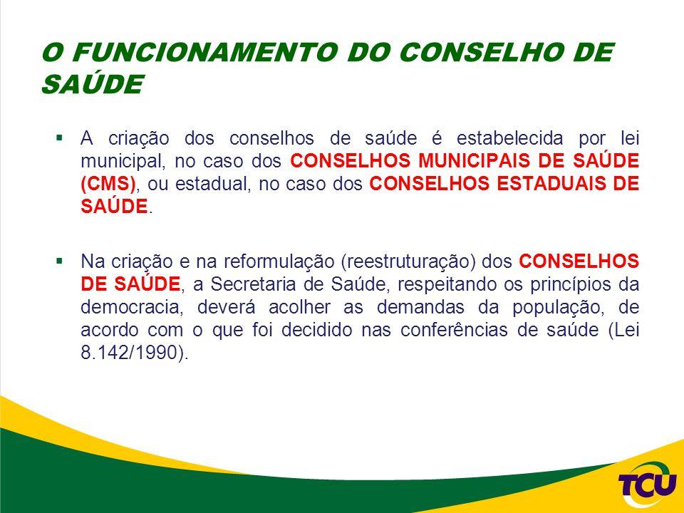 O FUNCIONAMENTO DO CONSELHO DE SAÚDE
