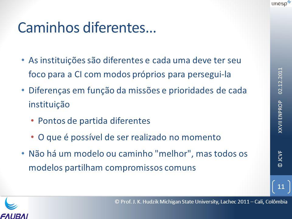 Caminhos diferentes... As instituições são diferentes e cada uma deve ter seu foco para a CI com modos próprios para persegui-la.