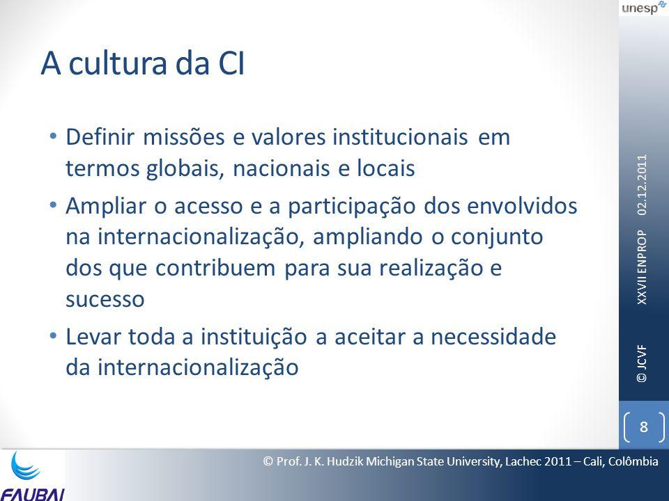 A cultura da CI Definir missões e valores institucionais em termos globais, nacionais e locais.