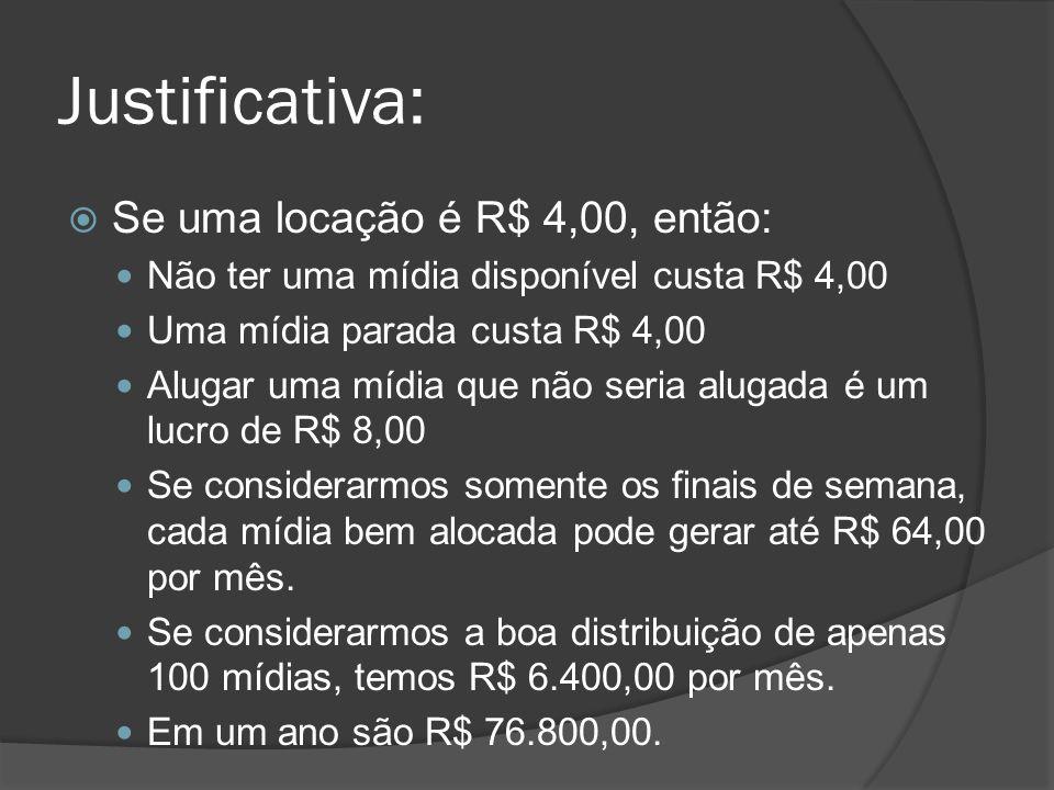 Justificativa: Se uma locação é R$ 4,00, então: