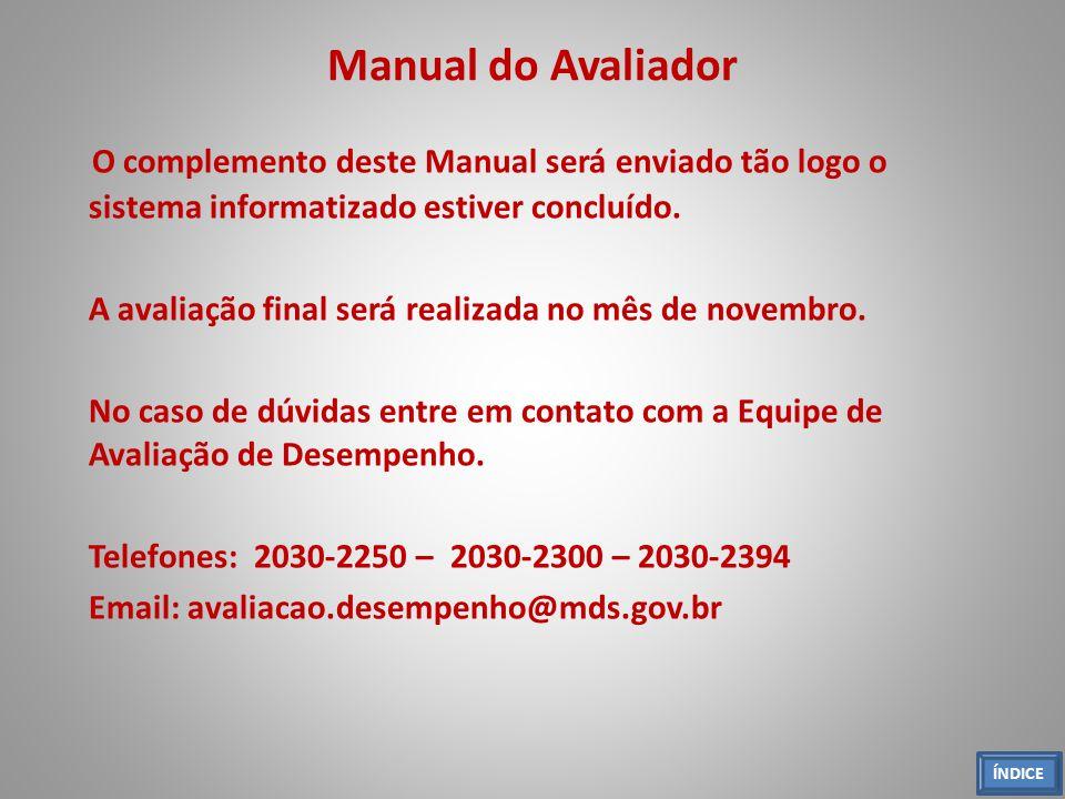 Manual do Avaliador O complemento deste Manual será enviado tão logo o sistema informatizado estiver concluído.