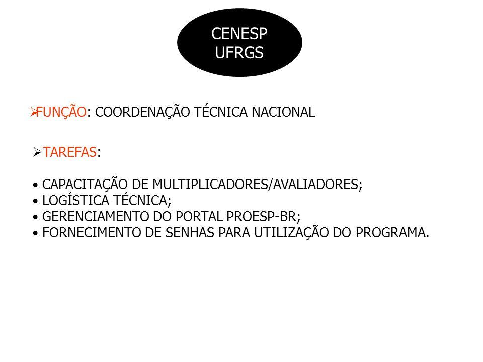 CENESP UFRGS FUNÇÃO: COORDENAÇÃO TÉCNICA NACIONAL TAREFAS: