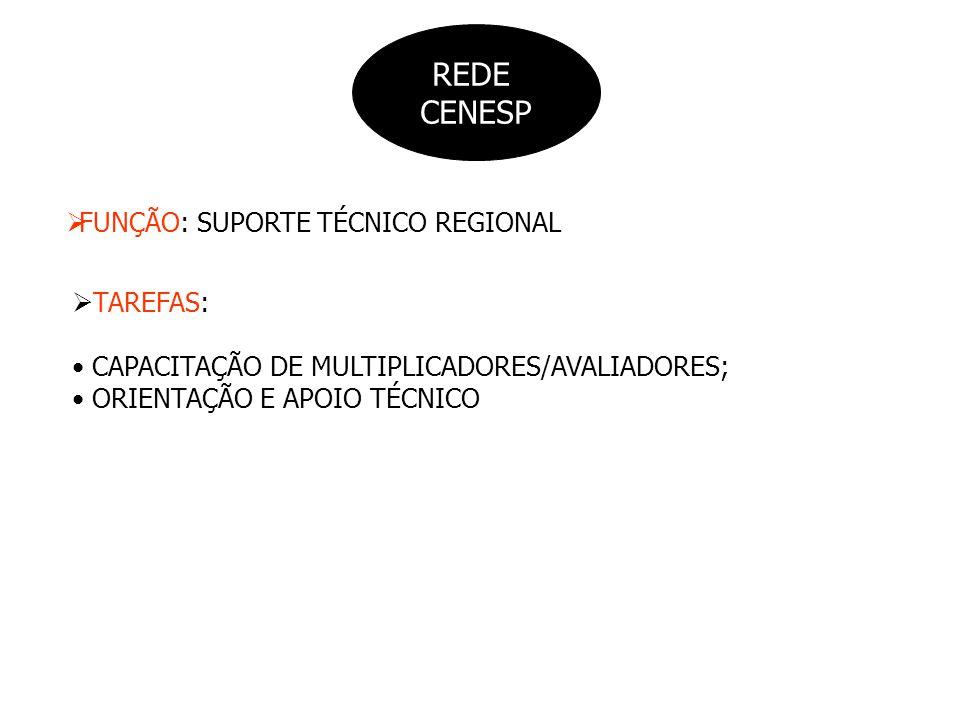 REDE CENESP FUNÇÃO: SUPORTE TÉCNICO REGIONAL TAREFAS: