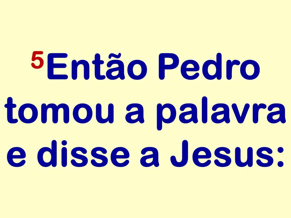 5Então Pedro tomou a palavra e disse a Jesus: