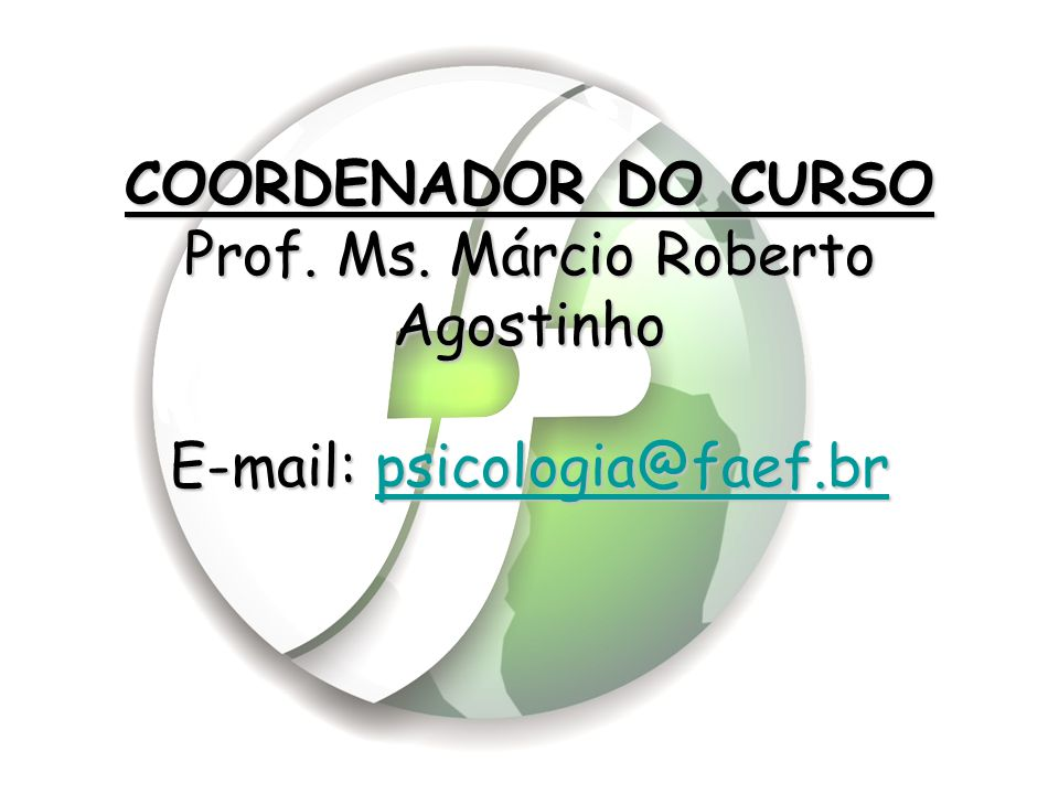 COORDENADOR DO CURSO Prof. Ms