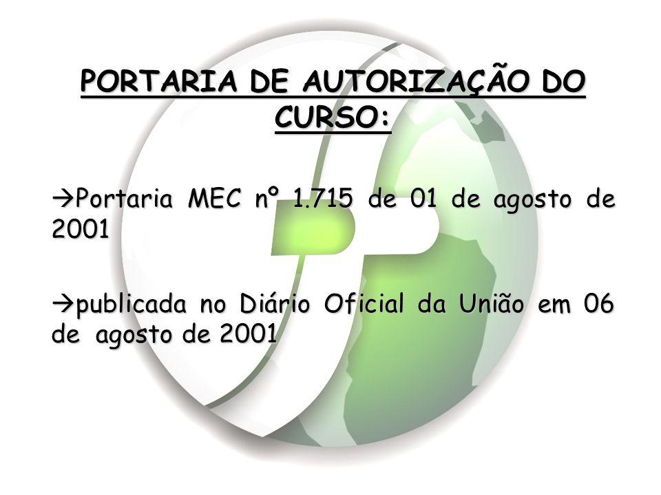 PORTARIA DE AUTORIZAÇÃO DO CURSO: