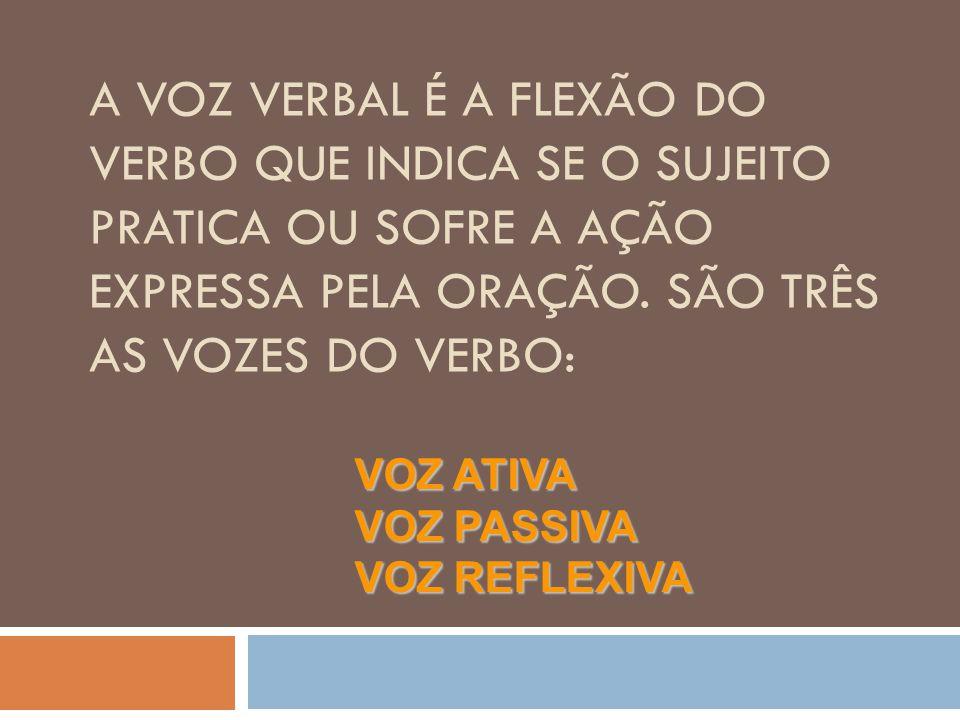 A voz verbal é a flexão do verbo que indica se o sujeito pratica ou sofre a ação expressa pela oração. São três as vozes do verbo:
