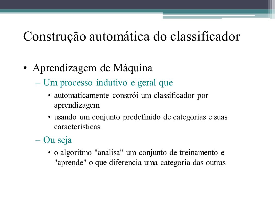 Construção automática do classificador