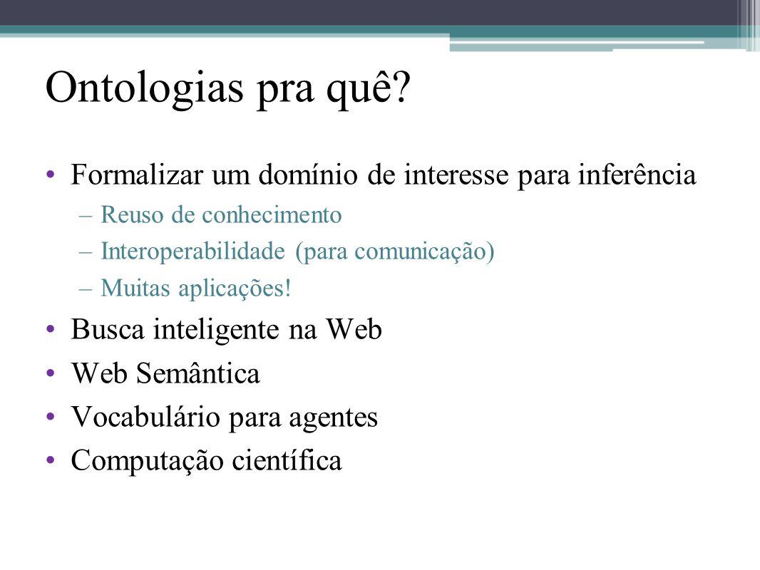 Ontologias pra quê Formalizar um domínio de interesse para inferência