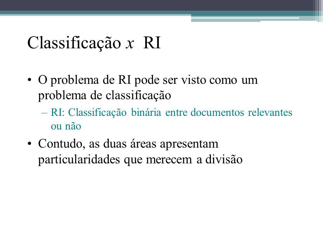 Classificação x RI O problema de RI pode ser visto como um problema de classificação. RI: Classificação binária entre documentos relevantes ou não.