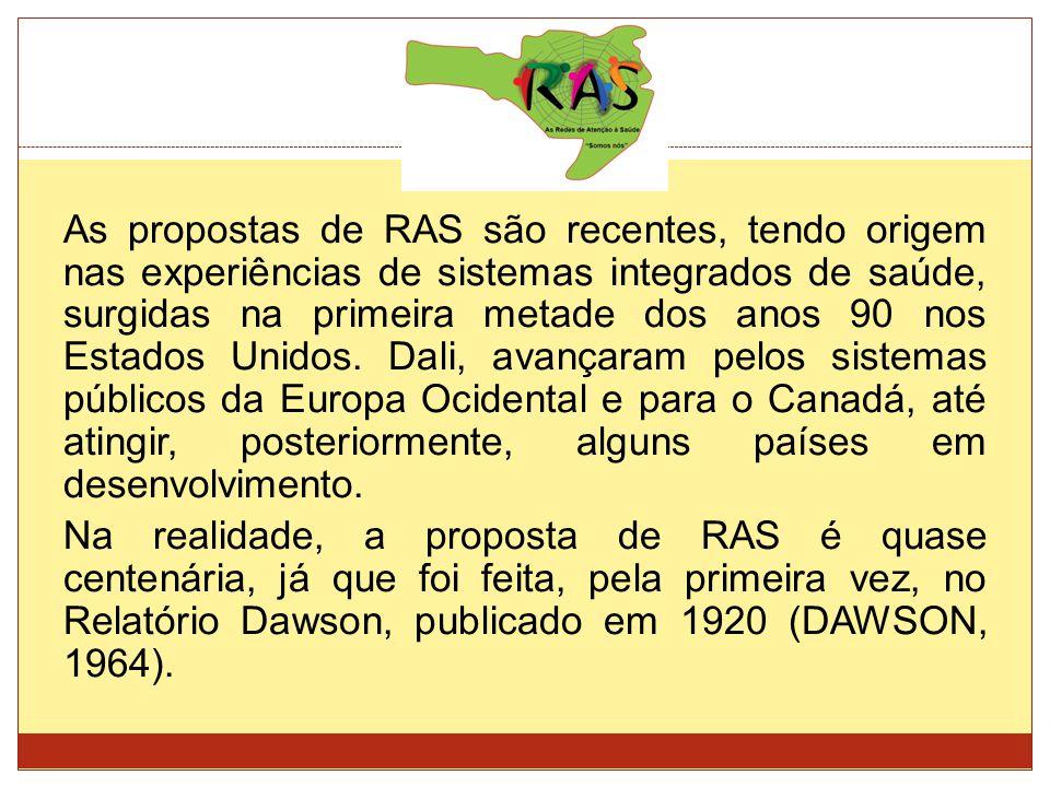 As propostas de RAS são recentes, tendo origem nas experiências de sistemas integrados de saúde, surgidas na primeira metade dos anos 90 nos Estados Unidos.