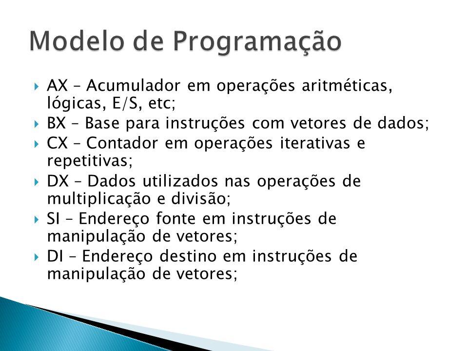 Modelo de Programação AX – Acumulador em operações aritméticas, lógicas, E/S, etc; BX – Base para instruções com vetores de dados;