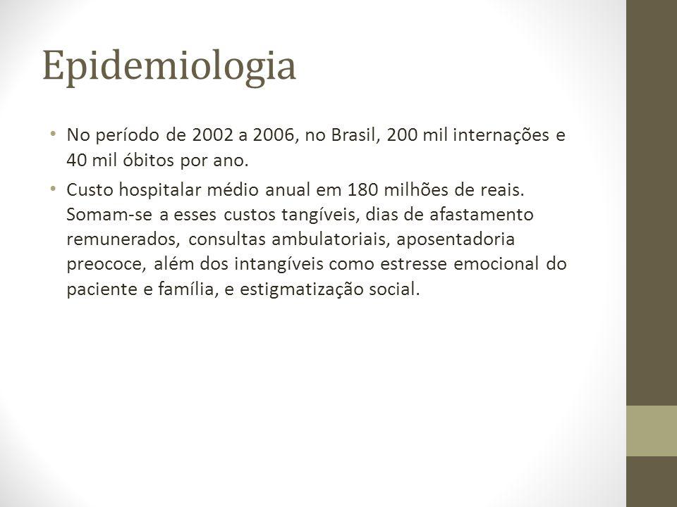 Epidemiologia No período de 2002 a 2006, no Brasil, 200 mil internações e 40 mil óbitos por ano.